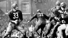 Sammy Baugh, dropping back to pass against the Bears in 1942, was inducted into the Pro Football Hall of Fame in 1963. He played for the Redskins from 1937 to 1952.