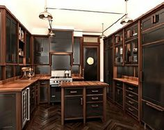 Steampunk dressers and metals on pinterest for Kitchen designs steampunk