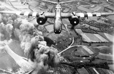 An A-20 from the 416th Bomb Group making a bomb run on D-Day, 6 June 1944.