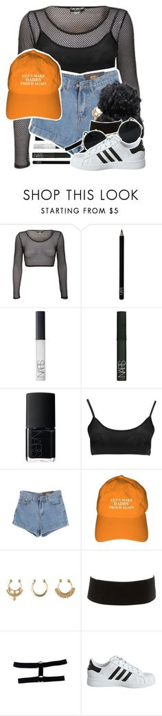 """""""!TO THE FUTURE"""" by gaeeko ❤ liked on Polyvore featuring NARS Cosmetics, Boohoo, Chicnova Fashion, Charlotte Russe and adidas Originals"""
