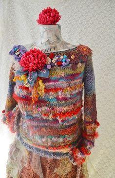 Knitted sweater  ,Bohemian, Art To Wear, Hippie,autumn, winter,spring, Gypsy, Boho ,Mori Girl sweater Remember Summer