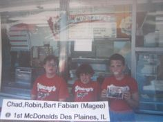 Chad, Robin & Bart Fabian Magee at the 1st McDonalds wearing their Young's Dairy t-shirts