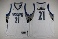 9b2e085fe Minnesota Timberwolves  21 Garnett White Men 2017 New Logo NBA Adidas  Jersey Kevin Garnett