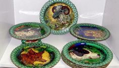 "Majolica and Transfer Printed Wedgwood ""Game"" Series Plates and Compotes"