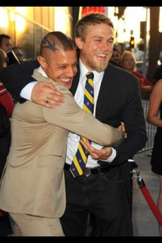 Charlie Hunnam and Theo Rossi.. not such a stretch. Charlie as Vincent (a little redhair dye for both of them) and four years older than Theo. Brotherly love.