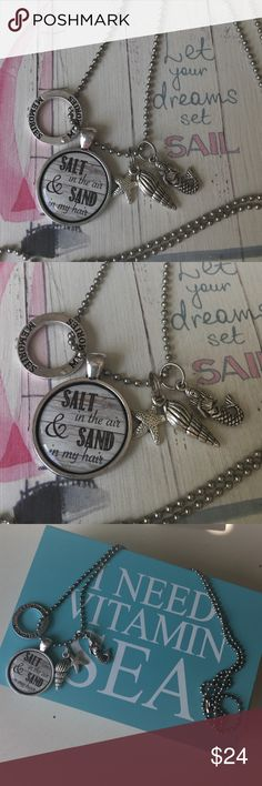 "Salt in the Air & Sand in My Hair Charm necklace Salt in the Air & Sand in My Hair silver Charm necklace. Long silver tone chain necklace with mermaid + shell  + starfish + ""memories"" circle + quote. Absolutely adorable.  Necklace was made in the USA and is one of a kind! Make an offer or ask me to create a custom bundle!  Jewelry Necklaces"