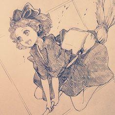 昨日の夜なんとなく描いてました〜ちいさく描きすぎて顔がうまくかけませんでした〜ということで健康診断行ってきます #illustration #doodle #drawing #otaku #manga #kikisdeliveryservice #kiki #イラスト #アナログ #落書き #絵 #魔女の宅急便 #キキ