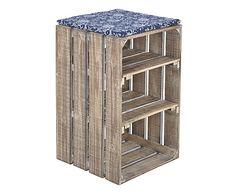 Mobiletto 3 scomparti in legno di abete e poliestere blu, 38x60x39 cm
