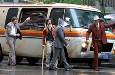 Paul Rudd, Steve Carell, David Koechner and Will Ferrell sport some bruises and bandages on the set of #Anchorman2
