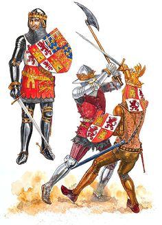 Gerry Embleton - Juan de Gante, rey consorte de Castilla, C 1386. El rey de Castilla Pedro I se enfrenta al futuro rey Enrique II, C 1369.