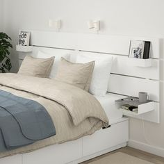 New room updated NORDLI Bed with headboard and storage - white - IKEA One of the most obvious ways t White Headboard, White Bedding, Ikea Headboard, Bedding Sets, Bed Frame With Headboard, Headboards For Beds Diy, Rustic Wood Headboard, Make Your Own Headboard, Headboard With Shelves