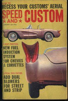 Vtg Speed and Custom Magazine January 1962 Chevy Corvette Drag Race Hot Rod