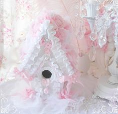 Pink Princess Victorian Rose Birdhouse Shabby Chic Rose French Victorian House Cottage French Farmhouse Marie Antoinette via Etsy. Shabby Chic Crafts, Shabby Chic Pink, Vintage Crafts, Rose Cottage, Shabby Cottage, French Cottage, French Farmhouse, French Country, Shabby Chic Birdhouse