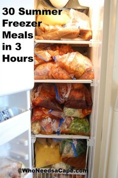 Summer Freezer Meals in 3 Hours Who Needs a Cape shows you how to make 30 Summer Freezer Meals in 3 hours. How inspiring!Who Needs a Cape shows you how to make 30 Summer Freezer Meals in 3 hours. How inspiring! Slow Cooker Freezer Meals, Make Ahead Freezer Meals, Dump Meals, Slow Cooker Recipes, Crockpot Recipes, Easy Meals, Freezer Recipes, Crockpot Summer Meals, Easy Recipes