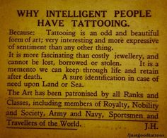 why intelligent people have tattooing.