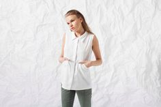 Elegant White Top  Woman Buttoned Up Shirt  Pockets by NoteFashion