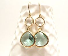 Aqua Earrings Gold Earrings Teal Blue Mint