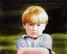 Portrait of Young Boy Watercolour Painting by thelastcelt on ...