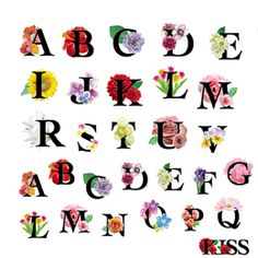 【スタンダード】アルファベット フラワー1 Embroidery Alphabet, Hand Embroidery, Cute Alphabet, Font Art, Bullet Journal Inspo, Illustrations And Posters, Flower Crafts, Typography Design, Hand Lettering
