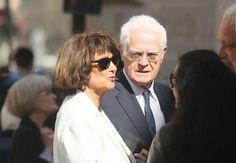 Lionel Jospin et sa femme Sylviane Agacinski aux obsèques de Jean-Marc Thibault en l'église Saint-Roch à Paris le 11 juin 2017