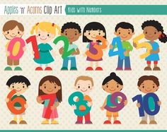 Kids With Numbers Clip Art - color and outlines $