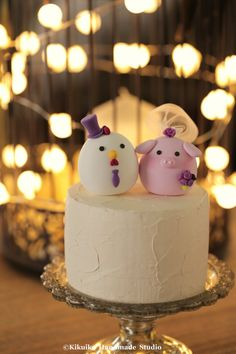 chicken and pig   wedding cake topper wedding cake by MochiEgg #weddingcake #cakedecor