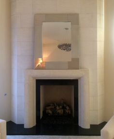 Modern Fireplace Surround carved in BFC Limestone Stone Fireplace Surround, Fireplace Frame, Faux Fireplace, Modern Fireplace, Fireplace Design, Fireplaces, Granite Hearth, Interior And Exterior, Interior Ideas