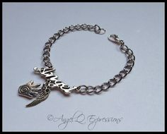 Supernatural Castiel the Angel Word of the Hunter Chain Bracelet with Healing Hand and Wing by AngelQ on Etsy