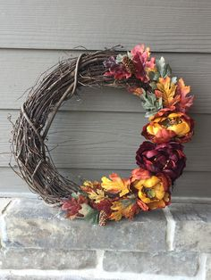 Excited to share this item from my shop: Autumn Peony Leaf Pinecone Rustic Fall Nature Grapevine Wreath Green Wreath, Different Holidays, Autumn Nature, White Peonies, Pinecone, Fall Wreaths, Grapevine Wreath, Handmade Crafts, Crowns