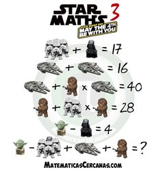 Star Maths 3 – May the be with you – Star Wars Day – MatematicasCercanas Fun Math Activities, Math Games, Reto Mental, Maths Day, Logic Problems, Star Wars Day, Star Wars Pictures, Picture Puzzles, Maths Puzzles