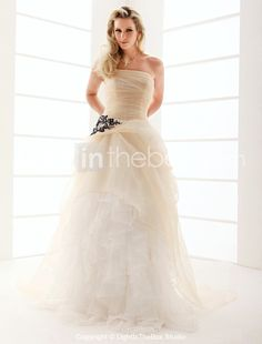 A-line Strapless Floor-length Organza Ruffles Wedding Dress. I have fallen in love