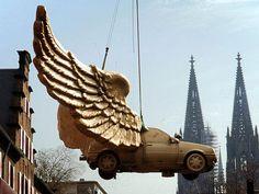 Public Art; Golden Bird by H.A. Schult