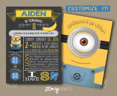 Minions Birthday Invitation / Minions First Birthday by EmryPRINTS