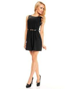 Vestido negro corto con cinturon