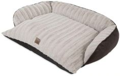 Precision Pet Snoozzy Rustic Luxury Pet Couch is a comfortable, warm place to snooze for your pet. Designed like a piece of furniture, this bed features a sofa silhouette with supportive bolsters on three sides for your dog to rest their head on or cuddle up to and keep warm. A soft, cream-colored sculpted plush fabric covers the entire sleep surface, while the outer part of the bed is wrapped in a dark brown, faux leather that adds warmth to any room in your home. It is ideal for medium to larg Couch Pet Bed, Bed Pillows, Sofa Beds, Dog Area, Sleigh Beds, Types Of Beds, Bean Bag Chair, Luxury, Furniture
