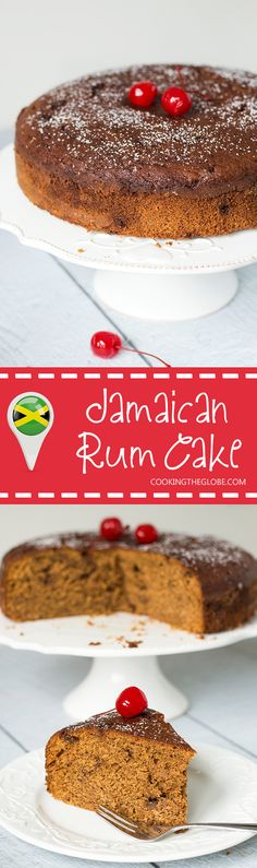 This Jamaican Rum Cake is dark, dense, and filled with rum-soaked dried fruit and Christmassy spices!   cookingtheglobe.com
