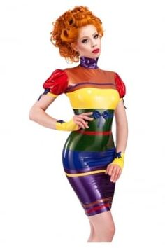 Model Ophelia Overdose brings added sunshine to the ultra stylish colour profusion of our beautiful Rainbow Latex Dress.This sexy design is . Latex Babe, Sexy Latex, Rubber Dress, Latex Dress, Rainbow Flag, Latex Fashion, Women's Fashion, Outfit, Bunt