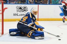 ST. LOUIS, MO - FEBRUARY 20: Jake Allen #34 of the St. Louis Blues makes a save on a shot from the Florida Panthers on February 20, 2017 at Scottrade Center in St. Louis, Missouri. (Photo by Scott Rovak/NHLI via Getty Images)
