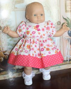 Bitty Baby Coral Flower Dress by RuthielovestoSew on Etsy Doll Clothes Patterns, Clothing Patterns, Bitty Baby Clothes, Flower Dresses, American Girl, Baby Dolls, Coral, Babies, Etsy Shop