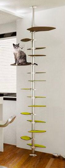 A modern cat tree with carpeted platforms along a metal base.