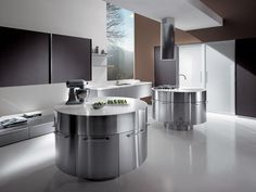 Contemporary kitchen / aluminum / wood / island - H 72 MT 200 / 210 - MITON Modern Kitchen Design, Interior Design Kitchen, Home Design Plans, Cuisines Design, Kitchen Cabinets, House Design, Contemporary, Wood, Table