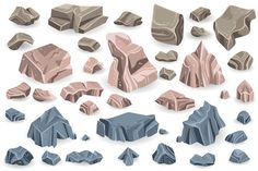 Stone rock vector rockstone of rocky mountain in Rockies mountainous cliff with stony geological materials and stoniness minerals illustration set isolated on white background - Buy this stock vector and explore similar vectors at Adobe Stock Plant Vector, Isometric Design, Game Icon, Vector Photo, Rocky Mountains, Royalty Free Photos, Geology, Stony, Minerals