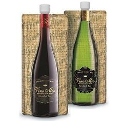 Vino Mio Foldable Wine Bottle (SET of 2) - Collapsible, Foldable and Lightweight - 750ML Wine PouchbyCassani