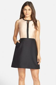 ERIN erin fetherston 'Eliza' Colorblock Twill Fit & Flare Dress available at #Nordstrom