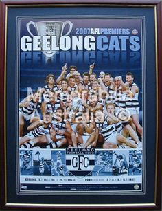 The 2007 Geelong Cats AFL Premiership win is commemorated on this Official AFL montage print. Love My Boys, Great Team, True Friends, Football Team, Legends, Club, Baseball Cards, Sports, Kids