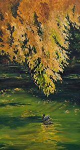 "A Fine Autumn Day by Nancee Jean Busse Acrylic ~ 30"" x 18"""
