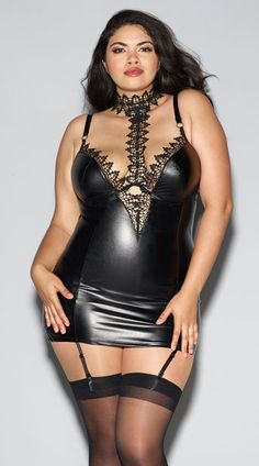 Plus Size Venetian Lace and Vinyl Chemise, Plus Size Faux Leather and Lace Chemise