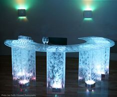 LED Lighted, Blue, Acrylic bar for rent - for parties and receptions
