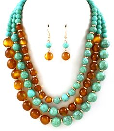 Turquoise Necklace and Earring Set To find out Price & more Collection Visit: www.mywholesaleroute.com