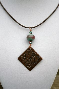 Etched Copper Square Floral Pendant by ChelestersCreations on Etsy, $17.00